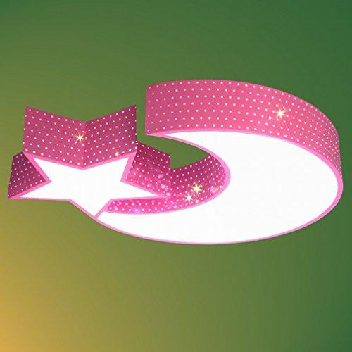 JN Moderne minimalistische led-plafondlamp met sterren, maan, sterren, voor kinderkamer, slaapkamer, acryl, woonkamer, verlichting, roze, 58 cm