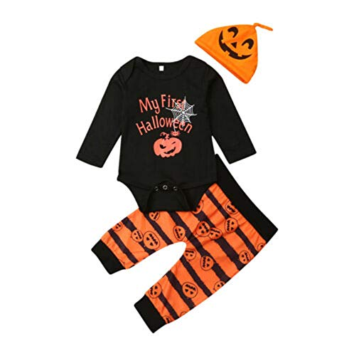 My First Halloween Newborn Baby Boy Girl Halloween Clothes Long Sleeve Romper Tops Striped Pumpkin...