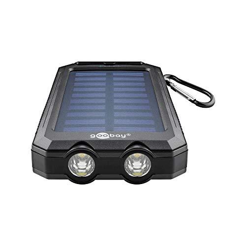 Goobay 49216 Outdoor Powerbank 8.0 (8.000 mAh), für Outdoor-Abenteuer Dank Robusten Design, Solarpanel und Taschenlampenfunktion