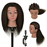 """LOHXINHAIR 22"""" 100% Real Human Hair Mannequin Head with Stand for Kids Coloring Braiding Styling Practice"""