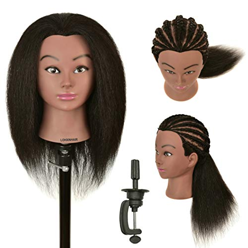 LOHXINHAIR 22' 100% Real Human Hair Mannequin Head with Stand for Kids Coloring Braiding Styling Practice