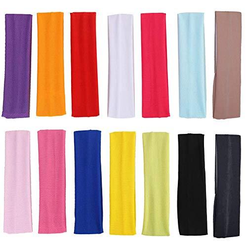 SIMUER 14 Stück Elastische Yoga Stirnband, Sport Stirnband Set Elastic Haarband Damen für Jugendliche Erwachsene Sport Yoga