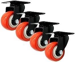 HUIJ vervangende meubelwielen voor zwenkwielen, PU-wielen met rem en bovenplaat, dubbele lagers, demper, pakket van 4, ora...