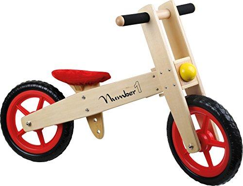Small Foot 4713 Draisienne « Numéro 1 » en bois, fabrication solide, avec roues en caoutchouc et selle réglable en hauteur, à partir de 3 ans, NS