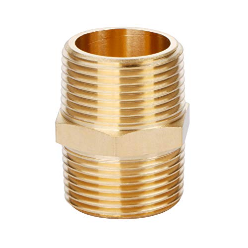U.S. Solid Brass Pipe Fitting, Hex Nipple, 3/4' x 3/4' NPT Male Pipe Adapter