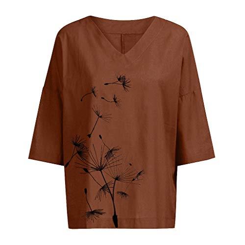 DOFENG Damen T Shirt Bluse Sweatshirt Damen Lange Ärmel Mode Locker Übergröße Löwenzahn Drucken Lässig O Hals Pullover Oberteil Tops (Kaffee, XXX-Large)