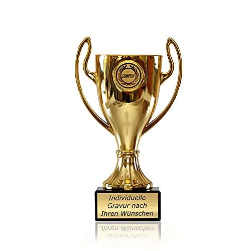 Zelaro Pokal in Gold mit Wunschtext - Trophäe für Kinder - Henkelpokal als Geschenk für Frauen und Männer mit Embleme DREI Größen (16cm)