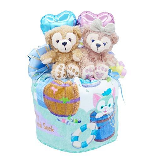 ディズニー 人気 バルーン おむつケーキ 女の子 男の子 パンパース ベビー ギフト 出産祝い 日本製 オムツケーキ (ダッフィー&シェリーメイ ブルー)