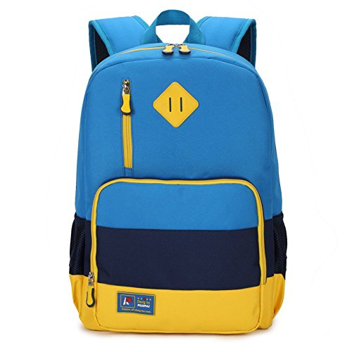 Kids Backpack for Elementary or Middle School Boys and Girls Blue with Reflector