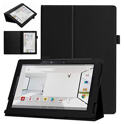 windykids dtab d-01H ケース Huawei互換 MediaPad M2 10.0 カバー 黒 3点セット 保護フィルム タッチペン スタンドケース