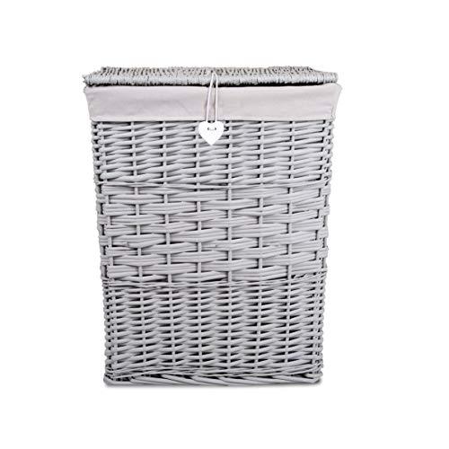 Premium Grey Paint Laundry Wicker Basket Cotton Lining With Lid Bathroom Storage Two (Medium)