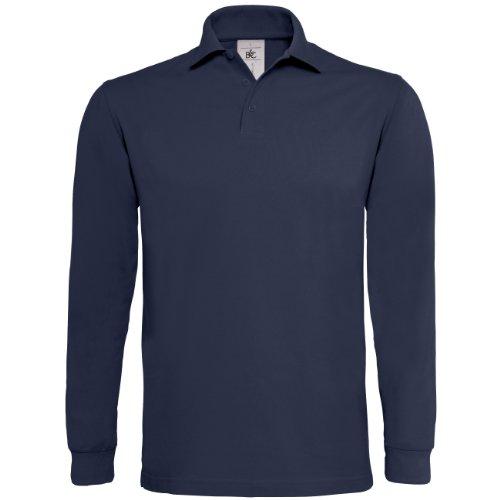 B&C Herren Mens Heavymill Long Sleeve Polo Poloshirt, Blau (Navy 000), Large