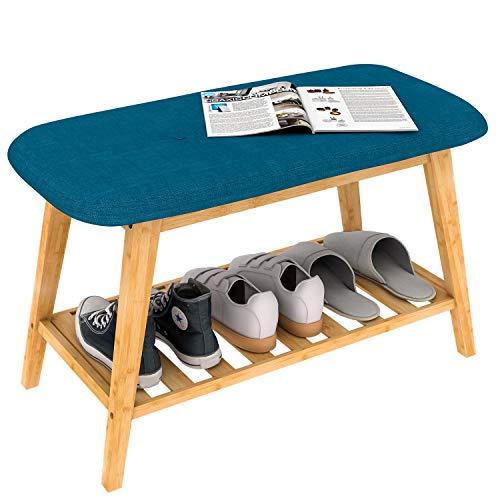 ZRI Bamboo Gepolsterte Schuhbank Sitzbank Schuhregal Flurbank mit Schuhablage aus Holz Blau 70 cm,angenehm bei Schuhe Anziehen