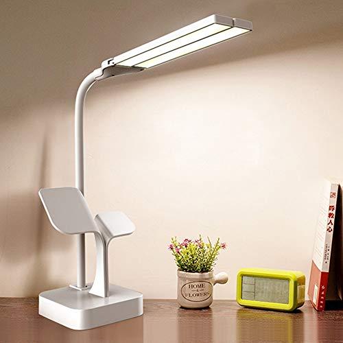Lámpara de mesa de dos cabezas super brillante LED de escritorio de la lámpara de la oficina de lectura USB recargable regulable 3 luces ajustable mesita de noche táctil lámpara de mesa