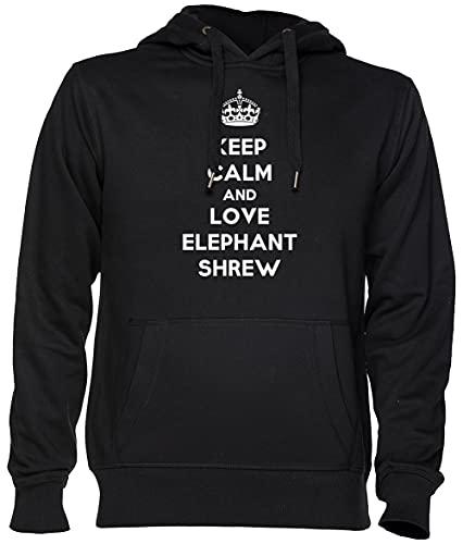 Keep Calm and Love Elephant Shrew Noir Sweat À Capuche Sweat-Shirt Jersey Unisexe Homme Femme Taille XS Black Unisex Hoodie Size XS
