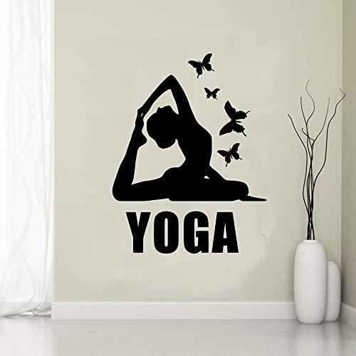 Diy mujeres creativas yoga chica mariposa calcomanía vinilo pared pegatina estudio de yoga gimnasio Fitness Club dormitorio decoración del hogar arte mural cartel