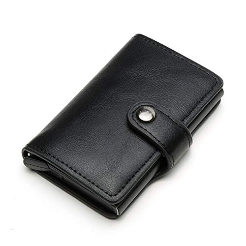 Card Holder, Men Credit Card Holder, Slim Card Case Front Pocket Anti-Theft-RFID Auto Pop up Travel Thin Wallets for Women - black - 5.90x1.18x5.11