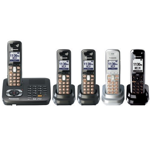 Panasonic KX TG6440PK - Cordless phone w/ call waiting caller ID & answering system - DECT 6.0 - black metallic + 4 additional handset(s)