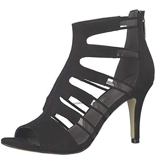 Tamaris Damen Sandaletten 1-1-28022-32, Frauen Sandaletten,Sommerschuhe,offene Absatzschuhe,hoher Absatz,feminin,Black,40 EU