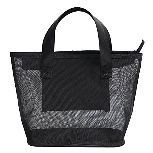LSZA Bolsa de cosméticos, 1 bolsa de malla de gran capacidad para artículos de tocador, tela de malla de nailon, bolsa organizadora de maquillaje, para viajes al aire libre, color negro