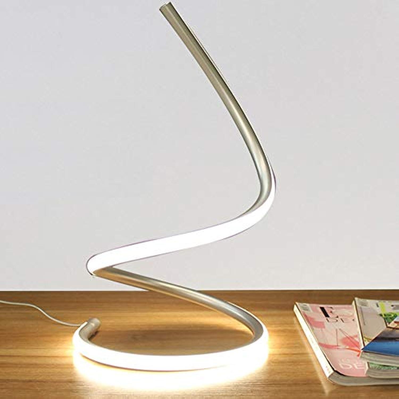 Moderne spirale tischlampe LED tischlampe schlafzimmer nachtbeleuchtung arbeitsstudie schreibtischlampe geeignet für wohnzimmer schlafzimmer studie home decoration tischlichter (Farbe   Silber)