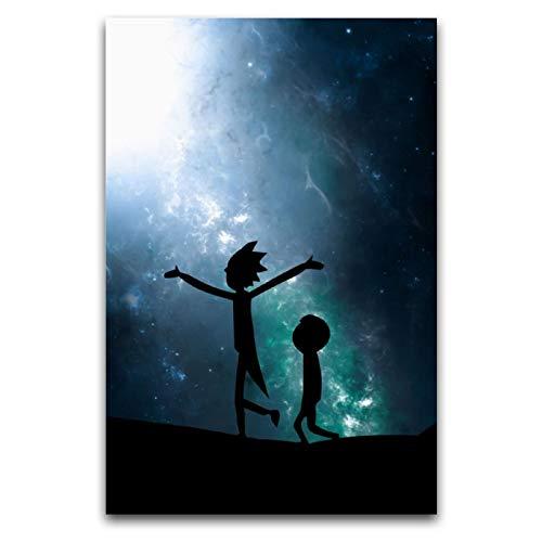 NGXL Leinwandbild, Rick und Morty Rick's Partner American Anime26, moderne Drucke, künstlerische Wanddekoration, rahmenlos, für Wohnzimmer, Schlafzimmer, Fitnessstudios, Bars, Cafés, 30 x 45 cm
