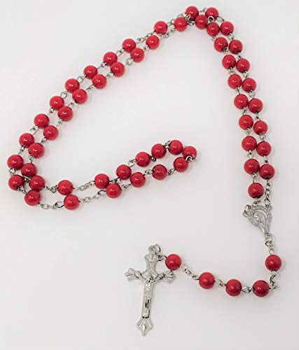 JRose Collections Long Black Glass Catholic Rosary Beads with Our Lady center 8mm beads