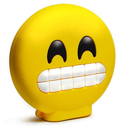 KawKaw Batería externa con 8800 mAh y 2 puertos USB, muchos diseños como divertidos emoticonos y divertidos emojis, idea de regalo divertida e innovadora, beso, sonrisa, lengua, corazones (sonrisa)