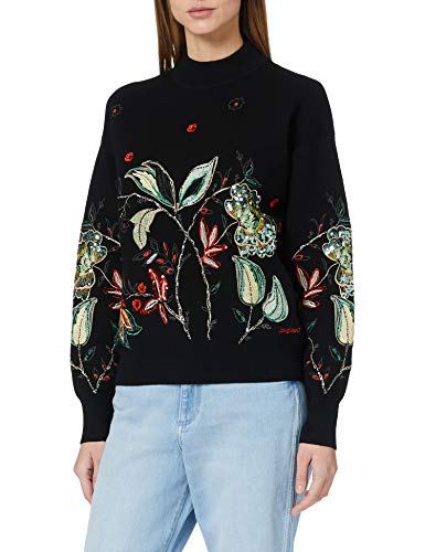 Desigual Womens JERS_DINANT Pullover Sweater, Black, L