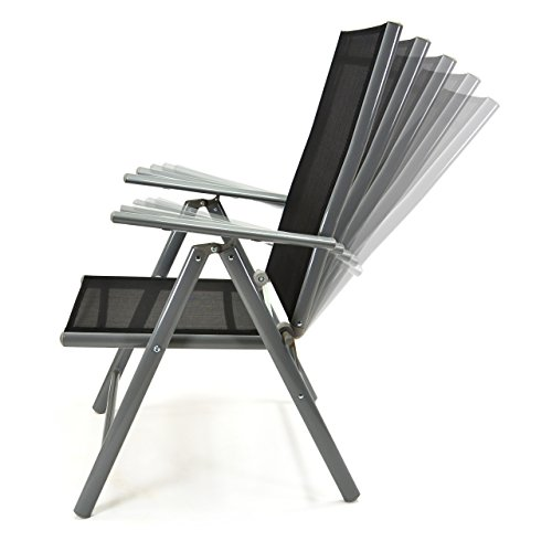2er Set Klappstuhl Aluminium Komfortbreite Gartenstuhl Gartenstühle Klappstühle Alu schwarz - 7