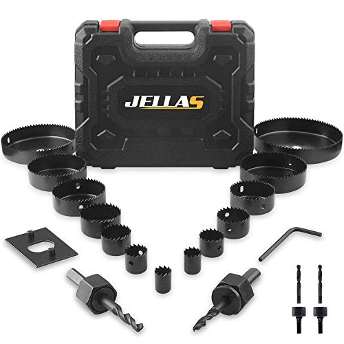 """Hole Saw Set, Jellas 19PCS Hole Saw Kit with 13Pcs Saw Blades, Max Size 6""""(152mm) and Min Size 3/4"""" (19mm), 2 Mandrels, 1 Installation Plate and 1 Hex Key, Ideal for Soft Wood, PVC Board, Plastic"""