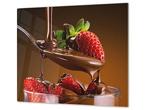 Tabla de cocina de vidrio templado - Tabla de cortar de cristal resistente – Cubre Vitro Decorativo – UNA PIEZA (60 x 52 cm) o DOS PIEZAS (30 x 52 cm); D07 Frutas y verduras: Fresa 12