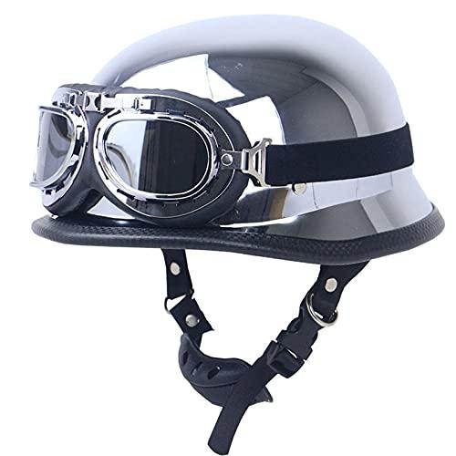 LZY GUOF Casco de Protección Dot Casco + Gafas Motocicleta Adulto Cuero Media Cara Casco W/Biker Pilot Goggles Cruiser Touring Scooter Cascos Casco Plata Gris