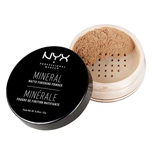 NYX Professional Makeup Polvos fijadores Mineral Finishing Powder, Polvos sueltos, Acabado mate, Absorbe brillos, Fórmula vegana, Tono: Medium/Dark