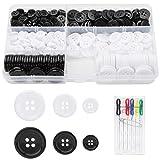 Rybtd 360 Piezas Botón de resina de cuatro agujeros 10mm/15mm/20mm Botones de costura redondos con un Kit de costura roscado para costura de bricolaje, decoraciones artesanales, reemplazo de botones
