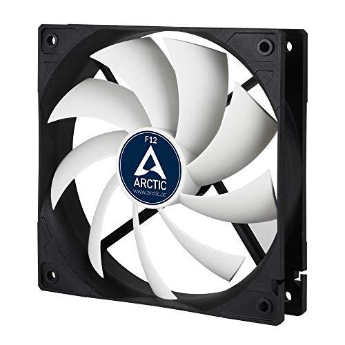 ARCTIC F12 - 120 mm Datorfläkt, tyst fläkt, skyddsfläkt med standardhölje, tryck- eller dragkonfiguration möjlig, 1350 RPM - Svart/Vit