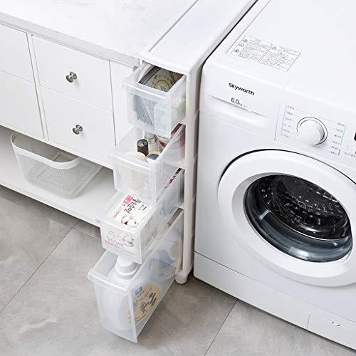 YEQING Gap Storage Slim Ausziehturmregal mit Rädern für Wäsche, Bad und Küche, Ausziehturmregal für schmale Räume mit Schubladen, 3-stufig und 4-stufig (Size : 14 x 45 x 69 cm)