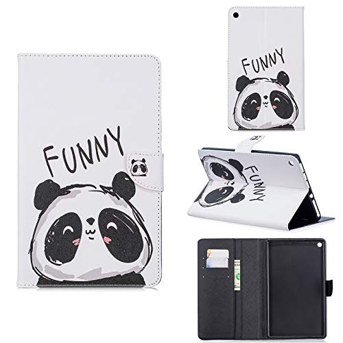 A-BEAUTY Case for Amazon Fire HD 8 Old Model (Fits 2018 2017 2016 Version, 8th/7th/6th Gen),Not Fit New HD 8 10th Gen 2020 Tablet, with Card Slots Wallet Stand Cover, Funny Panda