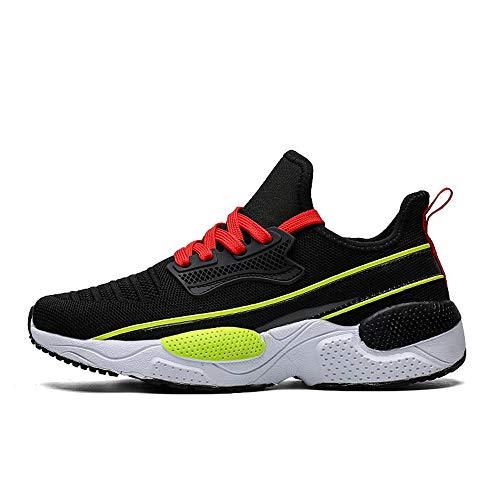 FLOWUNDER Mens Ligero del Camino de los Zapatos Corrientes Formadores Gym Fitness Sports Zapatos amortiguadora de Acoplamiento de la Manera,Negro,44
