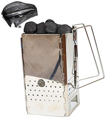 GoodsBeauty - Chimenea de carbón portátil para barbacoa – Briquetas de acero inoxidable para iniciar barbacoa al aire libre cocina rápida arranque barbacoa barbacoa Briquetas Accesorios