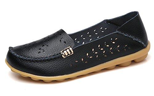 VenusCelia Women's Natural Breathable Walking Flat Loafer(11 M US,Black)