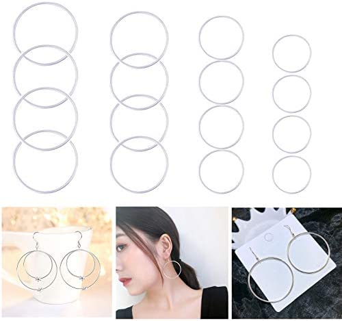 YHYPOCI 104pcs Silver Beading Hoop Earring Finding Round Earring Circle Pendant Connector Round product image