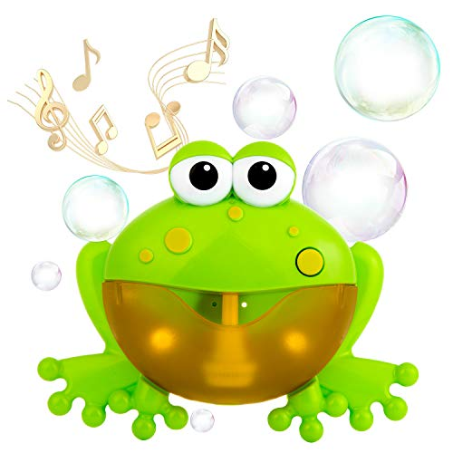 WolinTek Bubble Giocattoli da Bagno, Macchinetta per Bolle di Rana Bolla Blower Giocattolo per Vasca da Bagno con Filastrocca per Bambini Piccoli