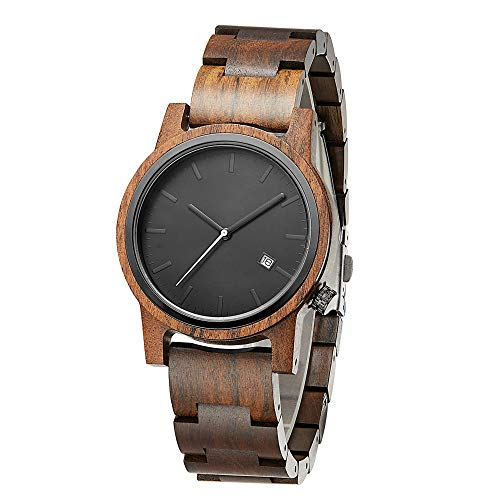 Wood Watch for Men Handmade Retro Black Sandal Watches Natural Wood Watch Quartz Movement Stainless Steel Case Back Waterproof Wrist Watch