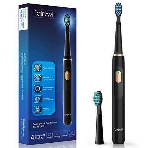 Fairywill Elektrische Zahnbürste Putzen Sie Ihre Zähne Wie Beim Zahnarzt Schallzahnbürste von 4 Reinigungs-Modi 2 Minuten Timer 2 Aufsteckbürsten 4 Stunden USB-Ladung für Min 30 Tage FW-551 Schwarz