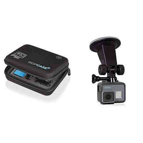 Wicked Chili GOP Case Tasche für GoPro Hero 7 / 2018 / 6 / 5 / 4 / 3 / QUMOX SJ4000 / Yi 4k 2k Koffer Bag Tragetasche für Kamera, LCD und Zubehör& Chili Auto Saugnapf Halterung für GoPro Hero