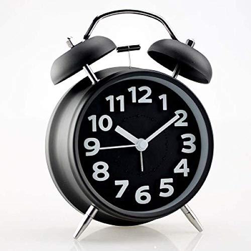FPRW innovatieve wekker in retro-stijl, 4-polige wekker met dubbele bel, Super Loud, wekker, metalen Pigro Ring, retro klok kleur Caramella, zwart