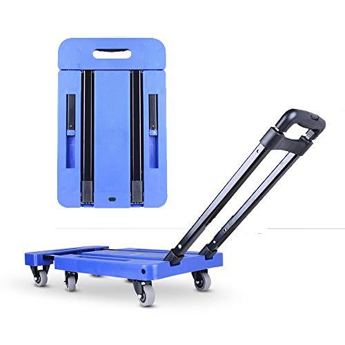 FEZBD Schubkarren-Transportwagen, fahrbarer Plattform-Hand-LKW, faltbar für einfache Lagerung und 360-Grad-Schwenkräder mit 200 kg Gewichtskapazität für die Reise,Blue