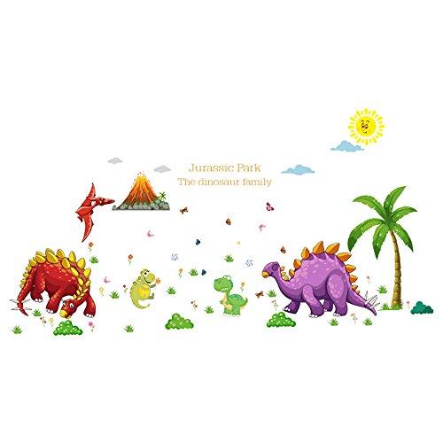 Winhappyhome Dinosaur Paradise Art Stickers Muraux pour Les Enfants Chambre Nursery Salon Café FenêTre Fond Amovible DéCoration Stickers