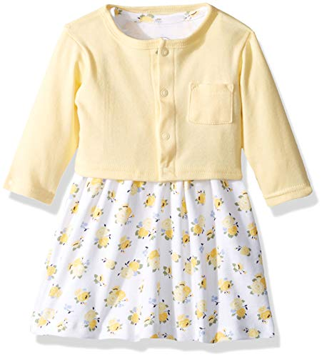Luvable Friends Baby and Toddler Girl Dress and Cardigan, Yellow Floral, 2 Toddler